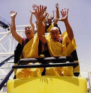 monks on coaster